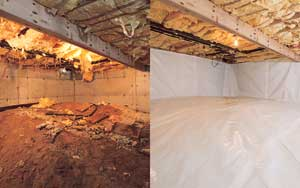 Before and After Photo of a re-designed crawl space with our Crawl Space Encapsulation System